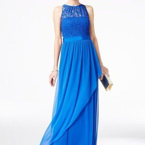NWT Adrianna Papell Lace Illusion Halter Gown